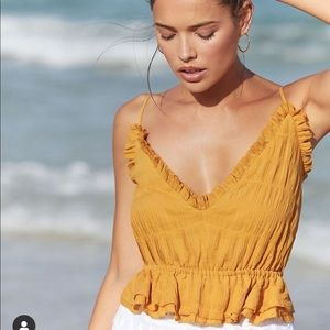 The Jet Set Diaries gold crop top size small